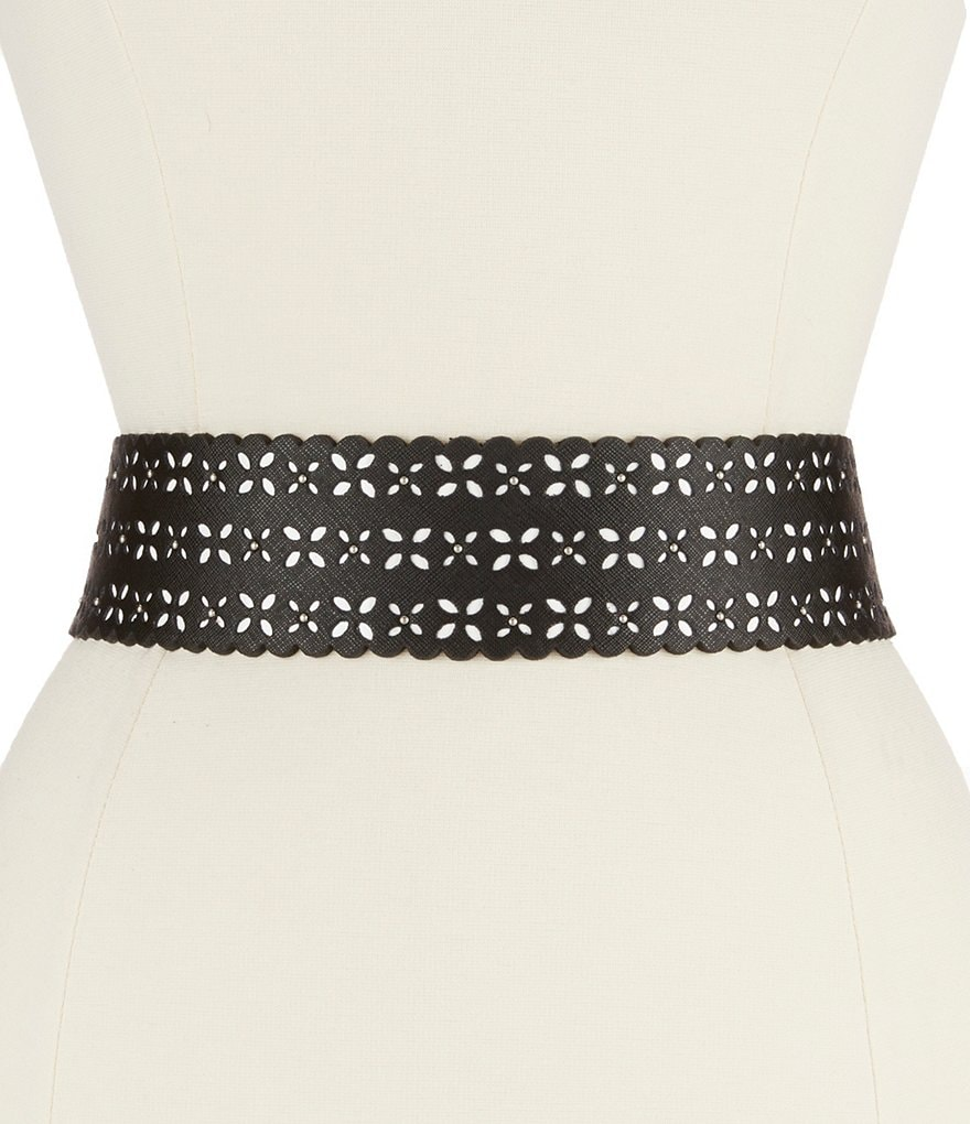 Michael Kors Scalloped Perforated Stretch Waist Belt