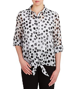 Allison Daley Button Down Tie-Front Printed Blouse