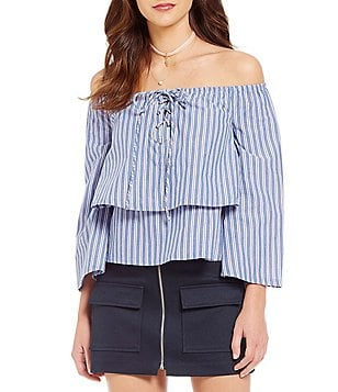 J.O.A. Off-the-Shoulder Bell Sleeve Tiered Ruffle Blouse