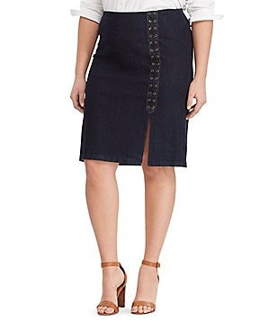 Lauren Ralph Lauren Plus Lace Up Denim Pencil Skirt