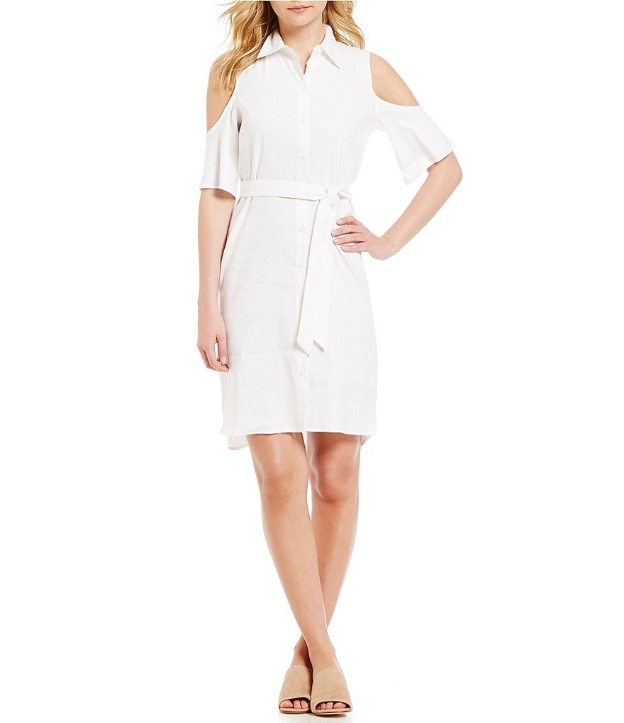 Antonio Melani Kendall Cold-Shoulder Stretch Linen Shirt Dress