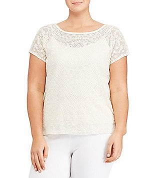 Lauren Ralph Lauren Plus Embroidered Sheer Tee