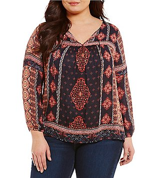 Lucky Brand Plus Split Tassel-Tie Neck Long Sleeve Border Print Peasant Top
