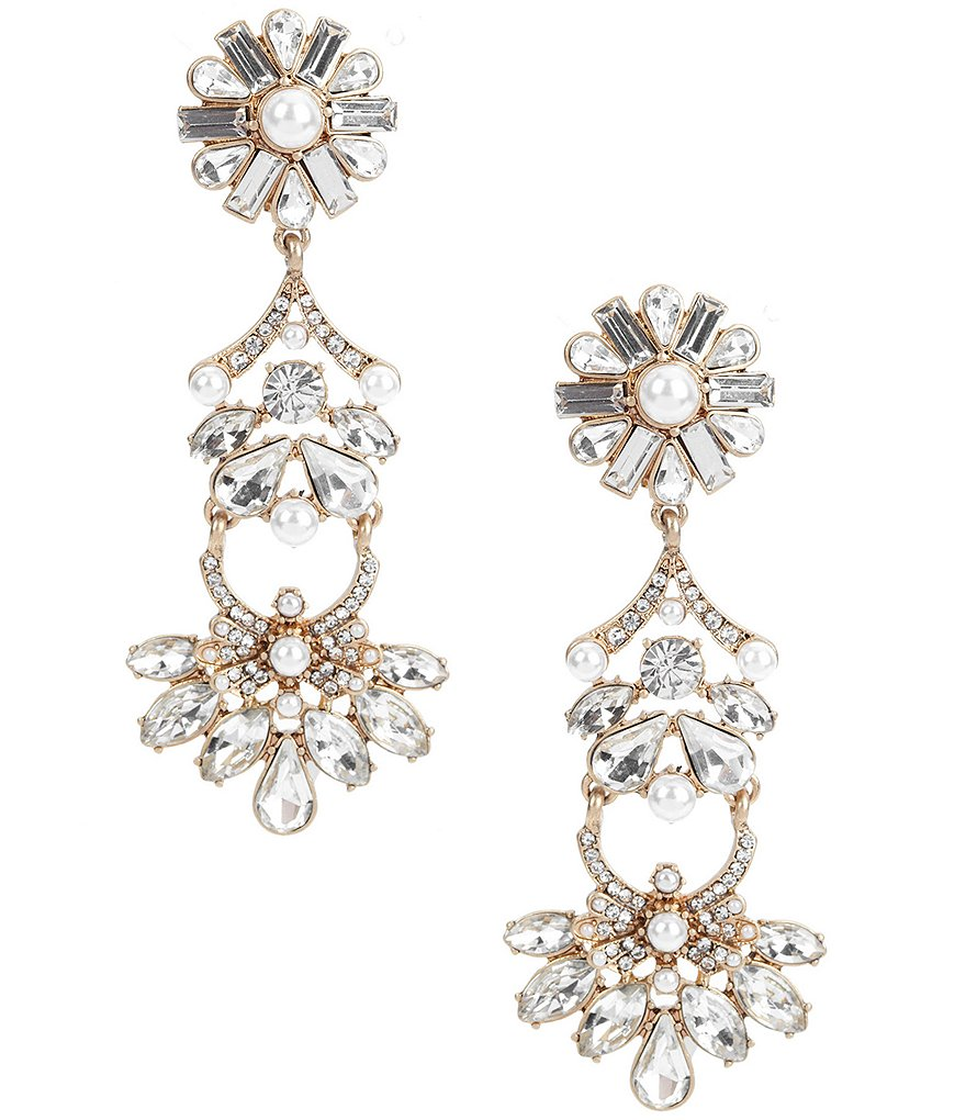 Belle Badgley Mischka Faux-Pearl & Crystal Clip-On Statement Linear Drop Earrings