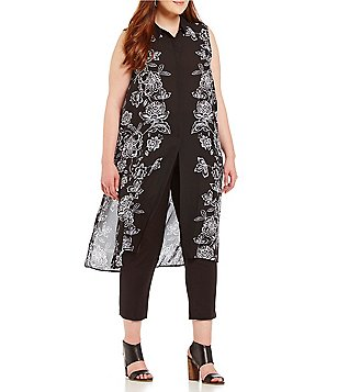 Peter Nygard Plus Alex Point Collar Sleeveless Printed Maxi Tunic