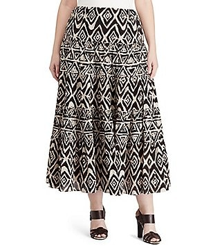 Lauren Ralph Lauren Plus Geometric Cotton Maxi Skirt