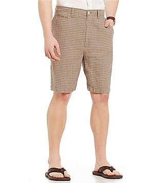Cremieux Sonoran Trails Collection Nantucket Plaid Linen Flat-Front Shorts