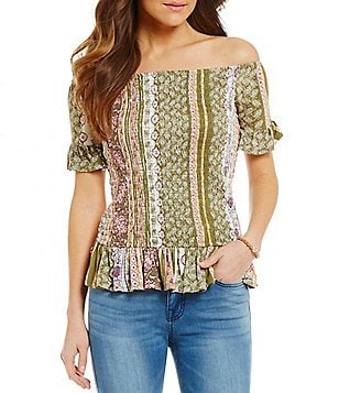 Wyldehart Smocked Off-The-Shoulder Printed Ruffle Peplum Top
