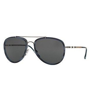 Burberry Leather Check Aviator Sunglasses