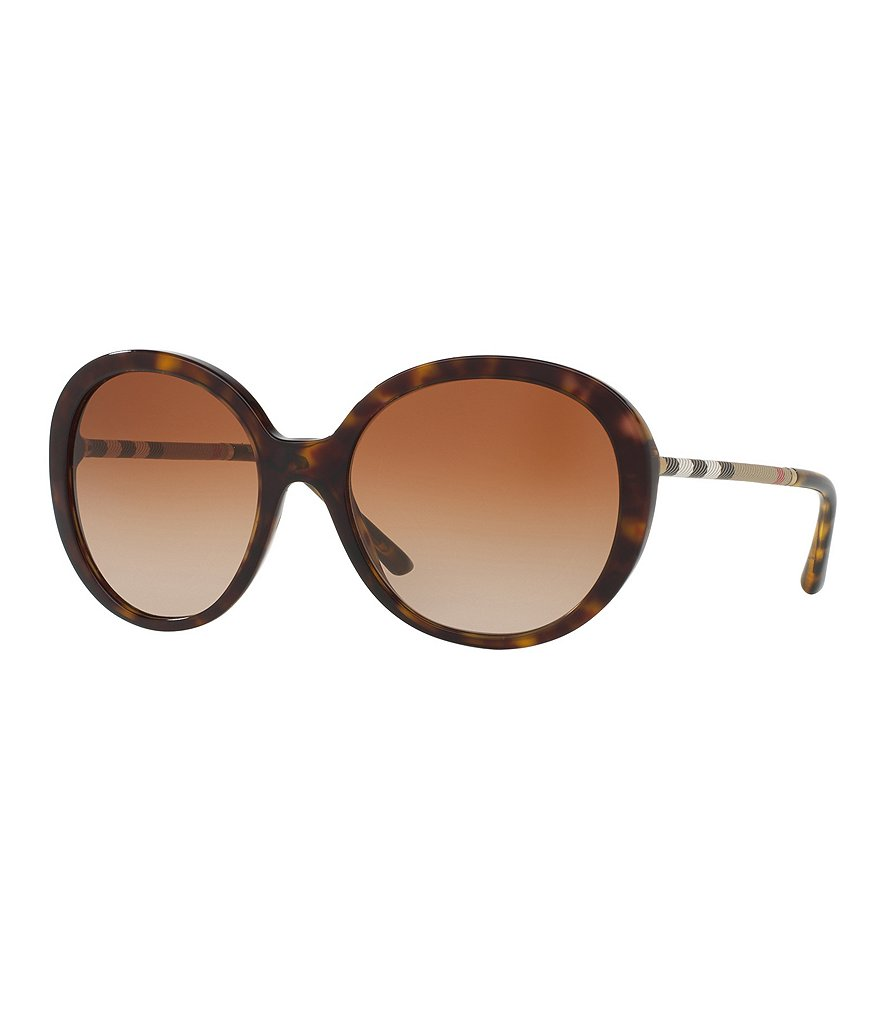 Burberry Leather Check Round Gradient Sunglasses