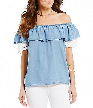 Wyldehart Off-The-Shoulder Lace Trim Top
