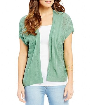 So It Is Crochet Dolman Sleeve Open Front Cardigan