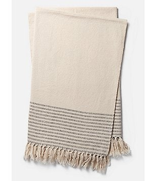 Magnolia Home by Joanna Gaines from Loloi Rugs Oaks Collection Striped Fringed Throw