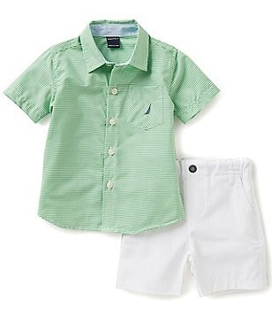 Nautica Baby Boys 12-24 Months Striped Woven Shirt and Shorts Set