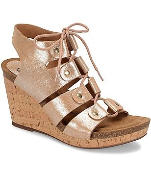 Sofft Carita Metallic Leather Lace-Up Cork Wedge Sandals