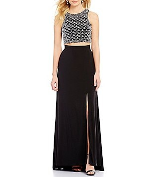Morgan & Co. Beaded Crop Top Two-Piece Long Dress