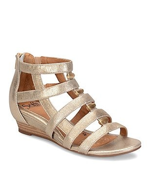 Sofft Rio Metallic Leather & Suede Caged Low Wedge Sandals