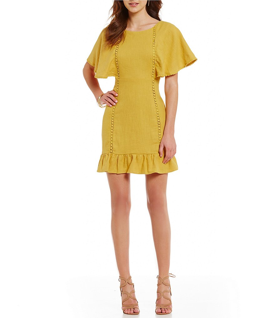 J.O.A. Bell Sleeve Ruffle Hem Sheath Dress | Dillards