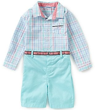Edgehill Collection Baby Boys Newborn-24 Months Plaid Long-Sleeve Shirt & Solid Shorts Set