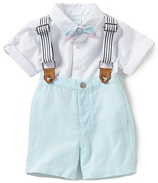 Edgehill Collection Baby Boys Newborn-24 Months Textured Short-Sleeve Shirt, Suspenders & Shorts Set