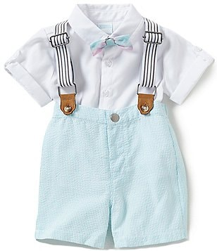 Edgehill Collection Little Boys 2T-4T Oxford Shirt, Striped Suspenders & Seersucker Shorts Set