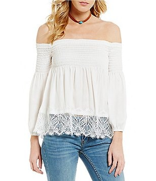 BB Dakota Locklear Smocked Off-the-Shoulder Blouse