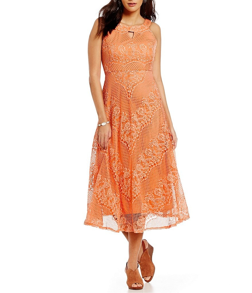 Reba Keyhole Sleeveless A-Line Lace Dress