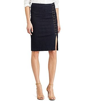 Lauren Ralph Lauren Lace-Up Denim Pencil Skirt
