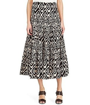 Lauren Ralph Lauren Tiered Geometric Printed Cotton Skirt