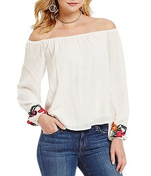 Lovers + Friends Over The Sea Embroidered Off-the-Shoulder Top