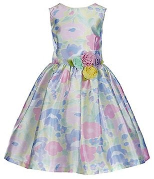 Pippa & Julie Little Girls 2T-6X Floral-Printed Floral-Appliqué Sleeveless Skater Dress