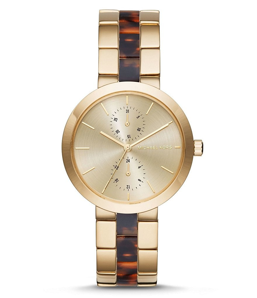 Michael Kors Garner Stainless Steel and Acetate Multifunction Bracelet Watch