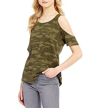 Sanctuary Lou Camo Scoop Neck Cold-Shoulder Top