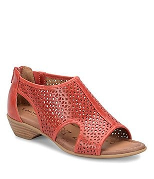 Comfortiva Rina Perforated Leather Side Cutout Back Zip Sandals