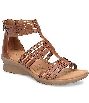 Comfortiva Kaelin Banded Leather Lasercut Backstrap Sandals
