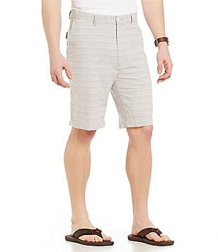Roundtree & Yorke Big & Tall Flat-Front Linen/Cotton Blend Striped Shorts