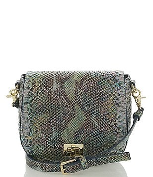 Brahmin Seville Collection Mini Sonny Snake-Embossed Saddle Bag
