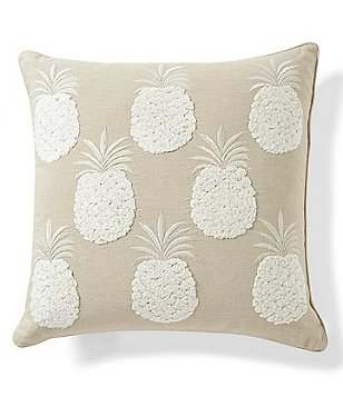 Southern Living Metallic Pineapple-Embroidered Square Pillow