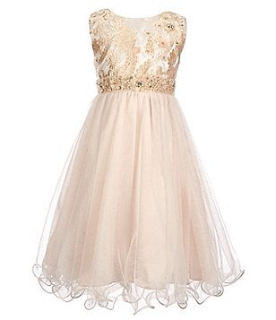 Chantilly Place Little Girls 4-6X Embellished Embroidered Mesh Dress