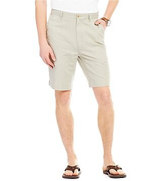 Roundtree & Yorke Big & Tall Flat-Front Linen/Cotton Blend Shorts