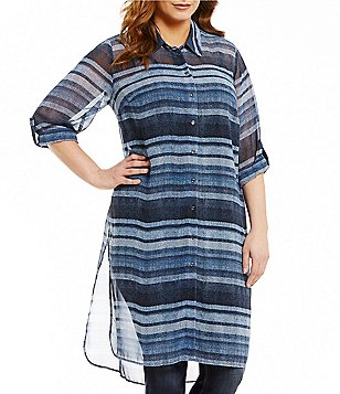 Vince Camuto Plus Point Collar Long Sleeve Button Front Stripe Tunic