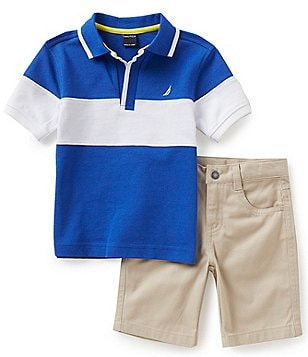 Nautica Little Boys 2T-7 Polo Shirt & Flat Front Shorts Set