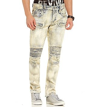 Rock Revival Acid Wash Straight-Fit Tapered Moto Jeans