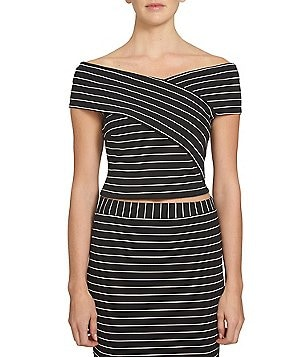 1. STATE Off-the-Shoulder Short Sleeve Striped Top