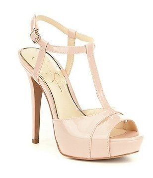 Jessica Simpson Barretta Patent Leather T-Strap Stiletto Dress Sandals