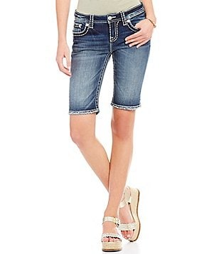 Miss Me Thick Stitch Stretch Denim Bermuda Shorts