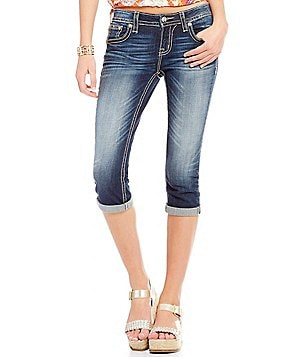 Miss Me Embellished Pocket Stretch Denim Jean Capris