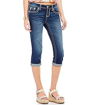 Miss Me Thick Stitch Stretch Denim Jean Capri´s