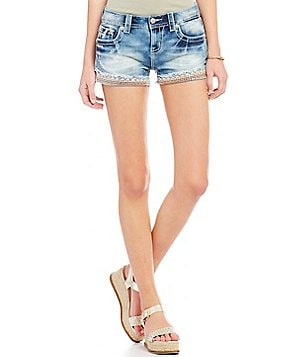 Miss Me Embroidered Frayed Hem Stretch Denim Shorts