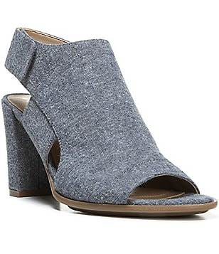Naturalizer Zahn Denim Peep Toe Side Cutout Slingback Block Heel Dress Sandal
